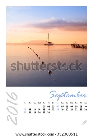 Photo calendar with minimalist landscape 2016. September.