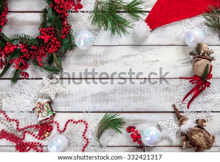 The wooden table with Christmas decorations with copy space for text. Christmas mockup concept #332421317
