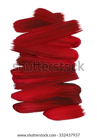 Brush Stroke. Blood Red Acrylic paint stain. Stroke of the paint brush isolated on white #332437937