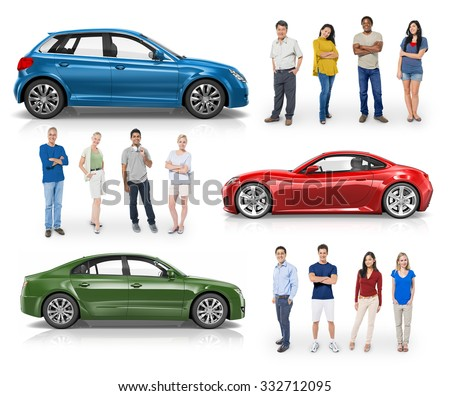 Car Vehicle Hatchback Transportation 3D Illustration Concept #332712095