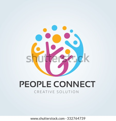 People connect logo, Communication ,family, Social Care, Kids, Sports, vector symbolic marks. #332764739