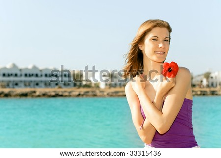 Beautiful girl relaxing on the beach #33315436