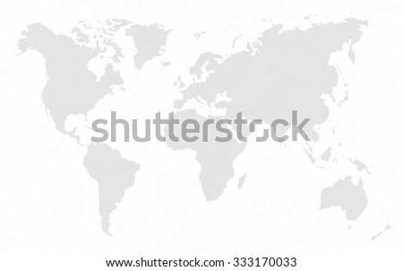 Abstract white crumpled paper or recycle paper for backgrounds  with world map in black tone