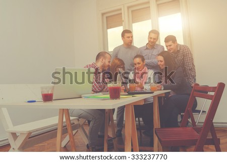 Young group of people discussing business plans. #333237770