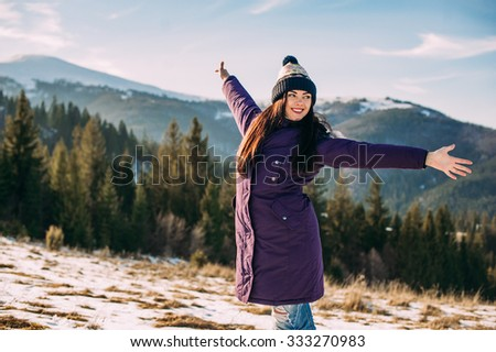 winter, beautiful girl, mountain, model, advertising, #333270983