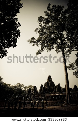Sepia effect filtered style , Angkor Wat , Cambodia #333309983