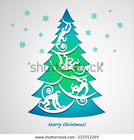 Christmas Card. New Year Tree with monkeys. Creative Paper Design.  #333312269