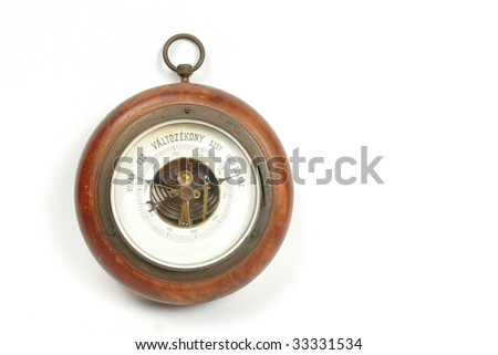 Old vintage Hungarian barometer isolated on white background #33331534