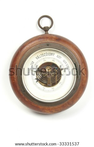 Old vintage Hungarian barometer isolated on white background #33331537