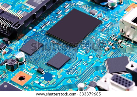 Electronic circuit board close up. #333379685