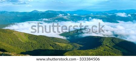 Summer cloudy mountain panorama view (Ukraine, Carpathian Mountains). #333384506