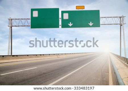 Blank road sign on highway