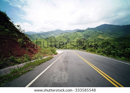 Country Road on the Mountain at Doi Phuka National Park, Nan Province, Northern Thailand #333585548
