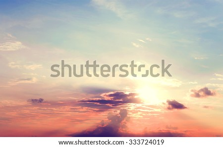 Vintage photo of abstract nature background with sky in sunset, vintage filter effect