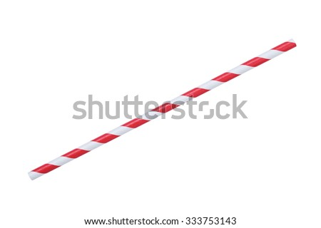 red striped papaer straw, isolated on white #333753143