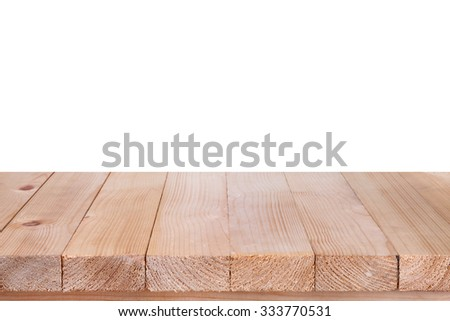 Wood table top on white background #333770531
