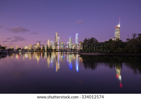 Over the water view of the Surfers Paradise, Queensland, Australia #334012574