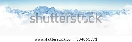 Panorama of winter mountains in Caucasus region,Elbrus mountain, Russia #334051571