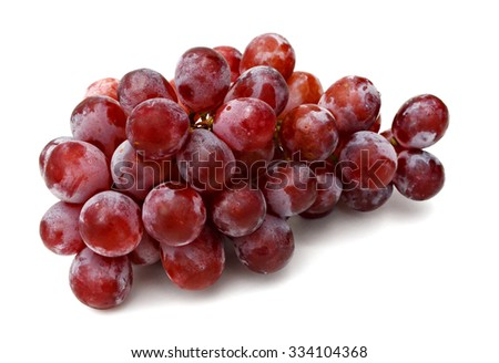 Bunch of red grapes isolated on white #334104368