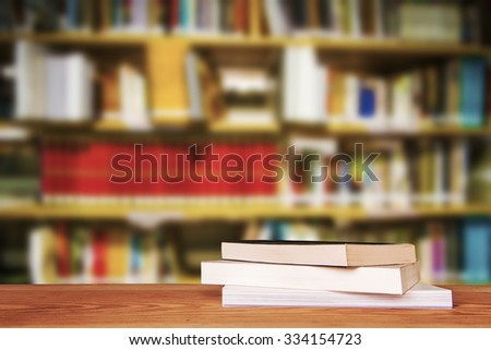 Empty wooden table and modern library background, product display #334154723