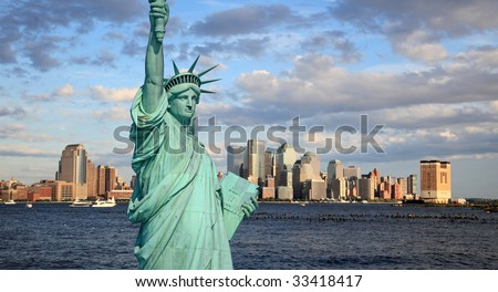 The Statue of Liberty and Lower Manhattan Skyline New York City #33418417