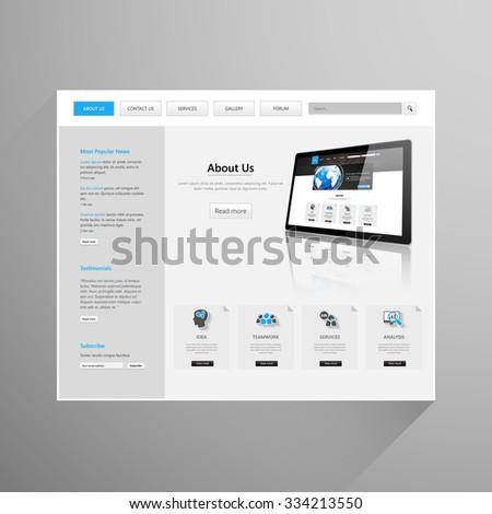Modern Clean Business Website Template Design, Editable Vector Illustration. #334213550