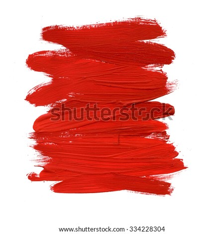 Red Abstract Stroke. Colorful raster watercolor brush stroke #334228304