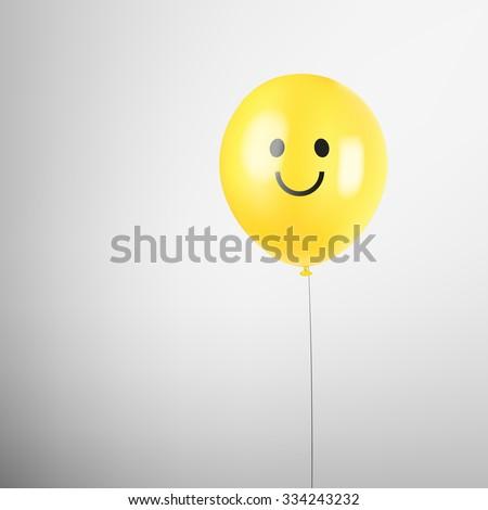 Realistic balloon. Smiley face. Yellow smile balloon. Happy birthday. Vector illustration. Happy face. Smiley face vector. Smiley balloon background. Realistic balloon. Realistic smiley balloon