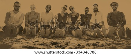 Friends Beach Vacation Party Chilling Concept #334348988