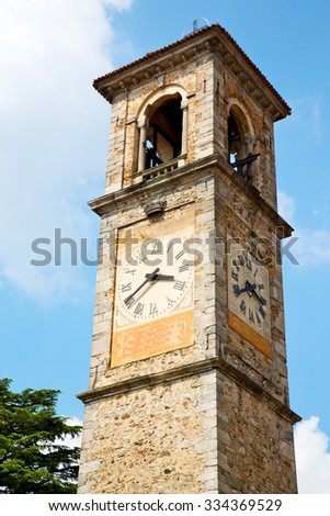ancien clock tower in italy europe old  stone and bell #334369529