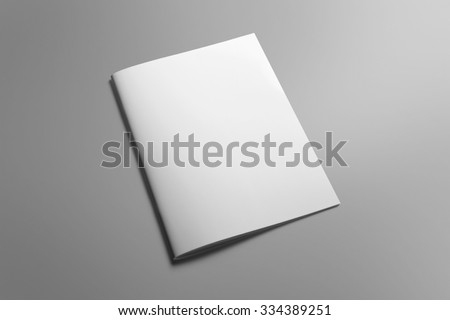 Blank portrait A4, US-Letter, brochure magazine isolated on gray, with clipping path, changeable background Royalty-Free Stock Photo #334389251