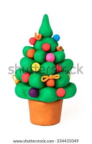 Christmas pine plasticine cartoon tree on a white background