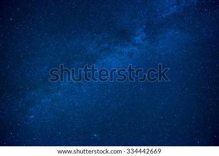 Blue dark night sky with many stars. Milkyway cosmos background