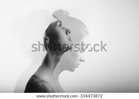 Double exposure with young and beautiful girl, monochrome Royalty-Free Stock Photo #334473872