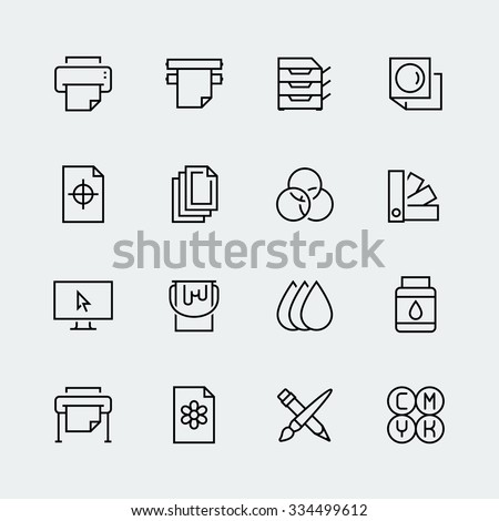 Printing vector icon set in thin line style Royalty-Free Stock Photo #334499612
