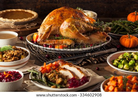 Homemade Roasted Thanksgiving Day Turkey with all the Sides