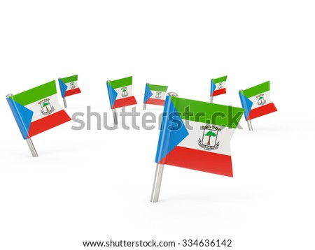 Square pins with flag of equatorial guinea isolated on white #334636142