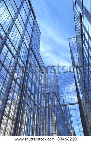 Courtyard view of modern glass and steel building, 3d #33466210