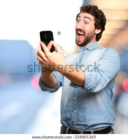 happy young man selfie pose #334805369