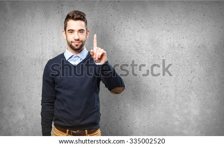 man showing number one #335002520