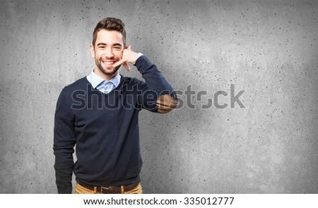 cool man calling gesture #335012777