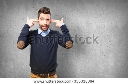 man doing a suicide gesture #335018384