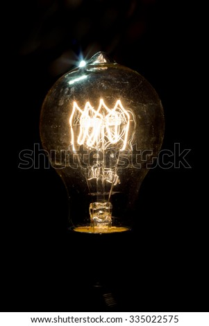 Decorative antique edison style light bulb in dark room #335022575