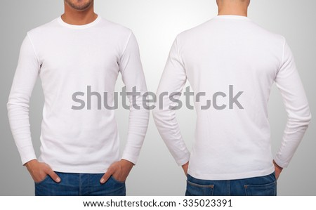 Man wearing a white t-shirt with long sleeves. Front and back version in the same image #335023391