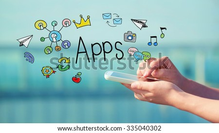 Apps concept with person holding a smartphone