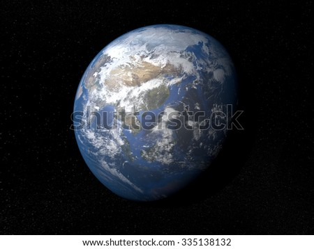 Earth from space Asia. Planet Earth in space with stars on the background. #335138132