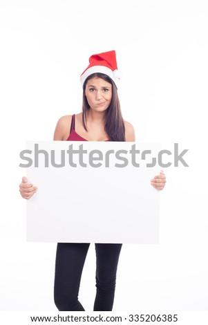 Christmas blank sign woman #335206385