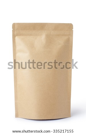 Brown paper food bag packaging with valve and seal #335217155
