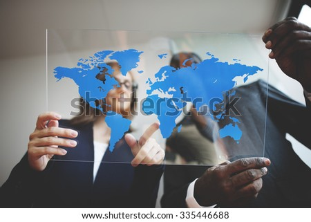 Business Team Global Business Planning Working Concept #335446688