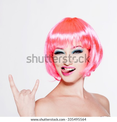 beautiful girl with pink hair isolated on white